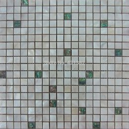 Wholesale Mother of pearl tiles green mosaic tiles with pearl white tile mixed kitchen backsplash tiles ceramic tiles for bathroom
