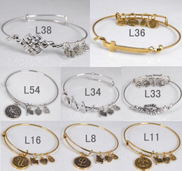 Wholesale 72 Style Gold Plate antique silver Mix color Initial Letters Wiring Bracelet for Beading or Charms Alex and Ani style expandable bangles