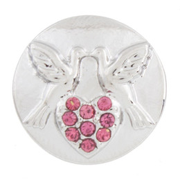 NSB2354 Hot Sale Snap Jewelry Button For Bracelet Necklace 2015 Fashion DIY Jewelry Crystal Snaps Peace Dove Heart Buttons