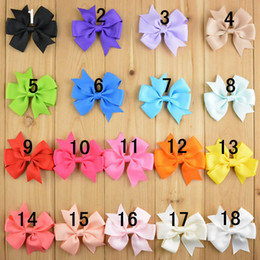 "3.1"" baby ribbon bows Baby Boutique hair bows with clips Children Hairclips Girls' hair accessories 18 colors 100pcs lot"