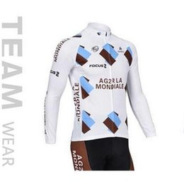 Wholesale 2015 Mondiale Focus Long Sleeve Cycling Jersey Set Bib None Bib Pants Thermal Long Sleeve Bicycle Wear