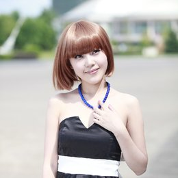 Factory outlet Bobo head wig sweet and lovely girl wig wholesale Brown Bobo wig