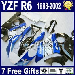 Fairing kit for YZF-R6 98-02 YAMAHA YZF600 YZF R6 1998 1999 2000 2001 2002 white blue black motorcycle fairings set GG3 + 7 gifts