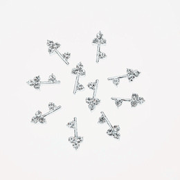 10Pcs Silver Key Shape Decorations For Nail Glitter Rhinestones Alloy Nail Art Decoration Nail Jewelry
