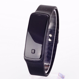 Wholesale HOT new Fashion design wristband mirror plane Touch Screen LED watch men women wristwatch Sport Candy Color Silicone children Digital Watche