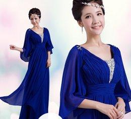 Wholesale Royal Blue Evening Dress Bat Sleeves A Line Long Chiffon Formal Women Gown Custom Made