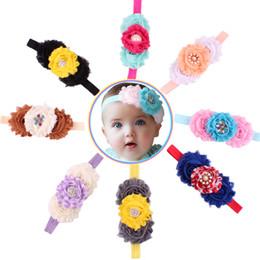 Shabby flower Baby Headbands Pearl Rhinestone Combination headbands for girls Infant hairband Kids' Elastic headband Newborn Hair Bows 20pcs