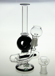 Wholesale 8 quot con water pipe globular perc mm balck color glass bong