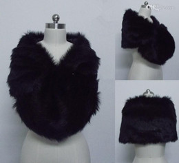 Free Shipping Fashion Black Faux Fur Wrap Bridal shawl Bolero Jacket Cheap Winter Warm Wedding Wraps In Stock For Party Bride Jackets