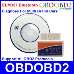 Wholesale Best Quality Mini ELM327 Bluetooth Diagnostic Tool OBD2 OBDII Code Reader ELM For Multi Brand Cars Works On Android Windows