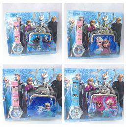 fashion popular Frozen Elsa Anna princess kid children's girl shell coin purse bag wallet + watch 2pcs set cartoon cute candy box for gift