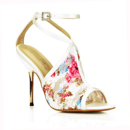 Ivory Lace Wedding Shoes Colorful Printing Sandals Open Toe Summer Style Ladies Sandals Daily OL Sandals For Brides Shoes Large Size 11