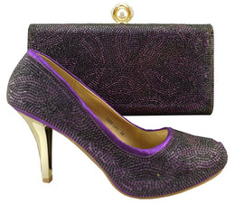 High quality oral style high heel shoes match bags series African shoes and handbag sets for party 1308-L61 purple,heel 9cm