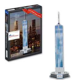 Hot World famous buildings Jigsaw Model 3D Puzzle World Trade Center DIY Xmas Gift Toys for childrens day Learning Education