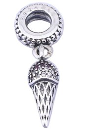 Sterling Silver Charms 925 Ale Dangled Rhinestone Ice Cream European Charms for Pandora Bracelets DIY Beads Accessories