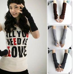 Wholesale-Men Women Unisex Knitted Fingerless Gloves Soft Warm Long Mitten warm Gloves Winter Gloves #012