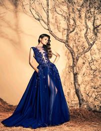 Скидка синяя панель Зияд Nakad 2015 темно-синий Вечерние платья высокого шеи Sheer панели из бисера аппликациями лифа высокого Щелевые Вечерние платья конструктора выпускного вечера платья дешевые