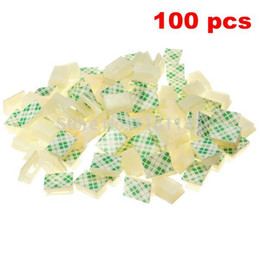 Wholesale 100 White Plastic Wire Tie Rectangle Cable Mount Clip Clamp Self adhesive