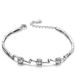 Wholesale high quality beautiful new handmade girls bracelet sterling silver white zircon jewelry buy from China