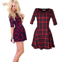 Wholesale-Wavors British style Women Dress 2015 New Fashion Women Casual Dresses Half Sleeve Red Plaid Dress