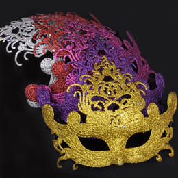 Luxury Color Crown Princess Mask Half Face Halloween Venice Masquerade Mask Christmas Women Dancing Performance Costume Decoration 20pcs lot