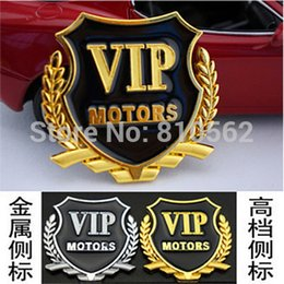 Wholesale 2Pcs VIP car stickers car window door car flag stick side mark of auto parts metal wheat VIP car stickers