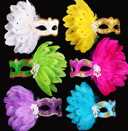 Colored drawing feather gem pearl mask fashion women Halloween MARDI GRAS carnival Easter Christmas party costume mask drop shipping
