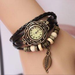 Wholesale Fashion Vine bracelet watch handmade hand rope knitted beaded cowhide women s watch