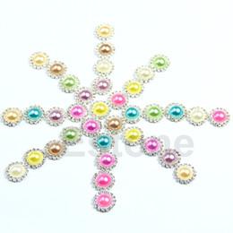 Wholesale-F85 Free Shipping 20pcs lot Rhinestone Pearl DIY Round Button Sewing Craft Wedding Embellishment