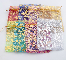 2017 8colors 9X12cm Gold Rose Design Organza Bags Jewelry Gift Pouches Candy Bag GB038 Hot sell