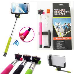 Promotion contrôleur bluetooth pour monopode Z07-5 Caméra extensible sans fil Bluetooth Autocollant Selfie Appareil photographique Télécommande Monopied + Support pour iphone 4 5s 6 s5
