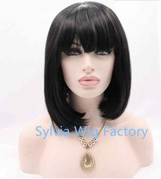 fashion short bob wigs with bangs for women black lace front wig synthetic hair heat resistant fiber