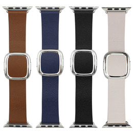Wholesale Real Modern Buckle For Apple Watch Leather Band Strap Magnetic Closure Stainless Steel Clasp Adapter For iWatch Blue Black Pink Brown Sample