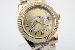 Esfera blanca para hombre de los relojes automáticos en Línea-La marca de fábrica nueva de lujo limitó los relojes retros del reloj del cielo del reloj del deporte del mens del dial de la marca de fábrica blanca de oro inoxidable del movment oro 42m m
