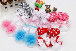 Wholesale Baby socksGirl Socks Tulle Puff Ribbon Bow Ruffle Baby Cotton Shoe Socks Princess Daily Socks