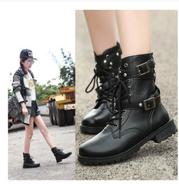 Women Punk Martin Boots Mid Calf Round Toe Knight Boots Lace Combat Rivet Buckle Wholesale-Free shipping