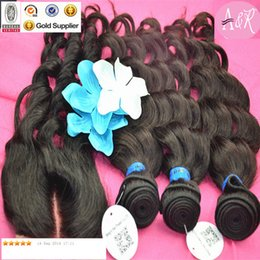 Wholesale Raw Material Loose Wave Hair Lace Closure Human Hair Weaves Brazilian Hair Weft With Closure