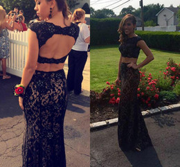 Black Full Lace Prom Dresses 2016 Two Pieces Evening Wear Floor Length Backless Jewel Collar Beading New Party Celebrity Dress Banquet Gowns