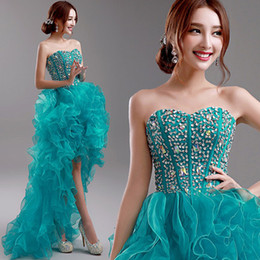 Cheap Sexy A-line Strapless Hi-Lo Cocktail Dresses 2019 Latest Sequin Rhinestone Sleeveless Crystal Dresses Prom Evening Party Gowns