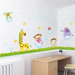 Wholesale Giraffe Elephant Frog Butterfly Children Wall Stickers For Kids Rooms Home Decoration Cartoon Adesivo De Parede