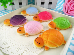 Wholesale 50pcs cm small pendant turtle bread kawaii squishy phone charm pendant mix colors order