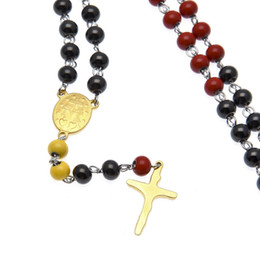 76cm Rosary Chain Necklace Multicolor Stainless Steel Bead Chain Rosary Jesus Christ Cross Pendant Long Charm Necklace For Men