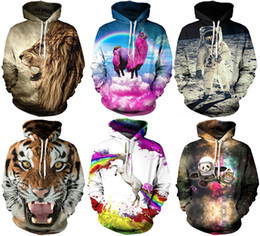 Wholesale 2017 Christmas Santa Autumn Winter D Animal Print Men Hoodies Coat With Hat Pocket Digital Print Hooded Pullovers S XL