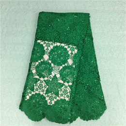 Wonderful green guipure lace with big jacquard and sequins african water soluble lace fabric for party dress BW34-7,5yards pc