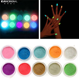 Wholesale-10Colors Neon Acrylic Nail Art Fluorescent Luminescent Glitter Tip Powder Sand Glow In Dark 3D Salon Nails DIY Design Decoration