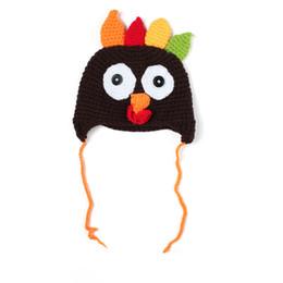 Wholesale Unisex Kids Girls and Boys Crochet Knit Caps Babies Turkey Pattern Hat children s Cute Cartoon Winter Cap