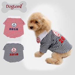 Free Shipping!!10pcs lot,mixed size and color,Anchor Stripe Summer Spring Pet Apparel Dog Cat Puppy T shirt Clothes