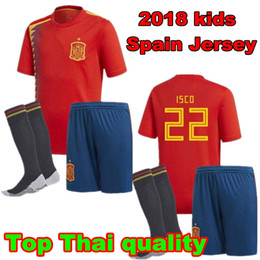 2018 Spain kids Jersey RAMOS ISCO PIQUE SERGIO A. INIESTA M. ASENSIO THIAGO MORATA home soccer shirt Football uniforms sales Espana kits