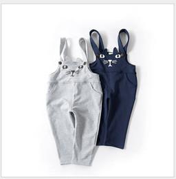 2019 New Arrival Boys Girls Cartoon Cat Suspender Pants Kids Casual Trousers Children Clothing Baby Boy Girl Pants 5pcs lot