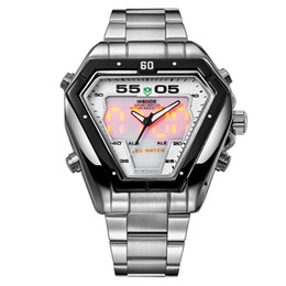 Wholesale US UK New design triangle dial boys superman LED watch multifunction brand Analog Digital clock mens Army stainless steel wrist watches cool